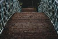 arching wooden bridge