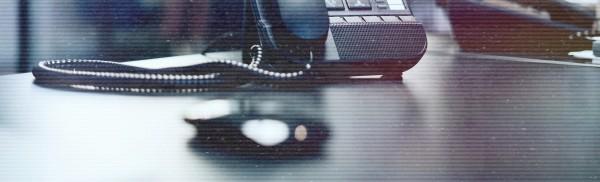 Landline phone on a desk